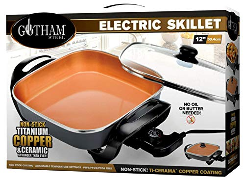 Gotham Steel Electric Skillet with Non Stick Ti–Cerama Copper Coating -  As Seen on TV