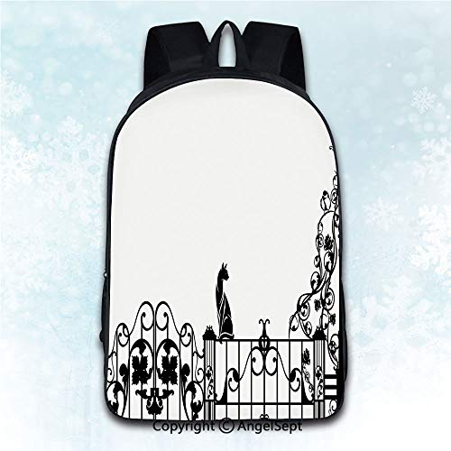 Multi-Function Stylish Anti-Theft Rucksack,Modern Cute Kitty over the Fences in the Garden by Lantern with Classic Flowers Pattern Black White 16 inches,Mobile Phone Messenger ()