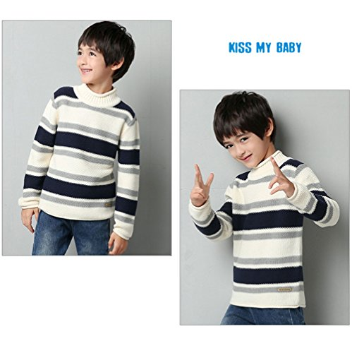 MiMiXiong MMX Boys Colorful Striped Winter Pullovers Sweaters Autumn Casual Children Knitwear Outerwear (3T, White) by MiMiXiong (Image #4)