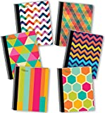NEW GENERATION - Chevron - Fashion Composition Notebooks, 6 Pack Note Books -Journals, 80 Sheets / 160 Pages Wide Ruled White Paper Durable Laminated Covers with Assorted Eye-Catching Cute Designs