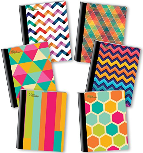 NEW GENERATION - Chevron - Fashion Composition Notebooks, 6 Pack Note Books -Journals, 80 Sheets / 160 Pages Wide Ruled White Paper Durable Laminated Covers with Assorted Eye-Catching Cute Designs (Office Chevron Supplies)