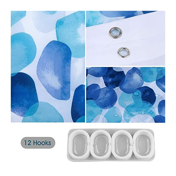 ARICHOMY Shower Curtain Set Bathroom Fabric Fall Curtains Waterproof Colorful Funny with Standard Size 72 by 72 (Blue) - Bathroom Curtain: Made from expertly chosen and thoroughly tested polyester fabric, which is made to withstand moisture-rich bathroom environments. Water repellent-water glides off and dries quickly. Water drops beads up just like a seed pearl in rolling on the lotus leaves. Keep your home clean and fresh. Featuring a perfectly weighted hem, reinforced top header and rust-resistant metal grommets. - shower-curtains, bathroom-linens, bathroom - 51JQbtbM3YL. SS570  -