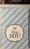 It's A Boy Fold-Over Fill-in Baby Shower Party Invitations- 10 Invitations and 10 Envelopes-