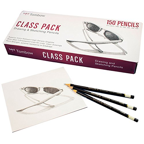 Tombow Mono Professional Drawing Pencils, Class Pack, 25 Each HB/B/2B/3B/4B/6B Degrees by Tombow Mono