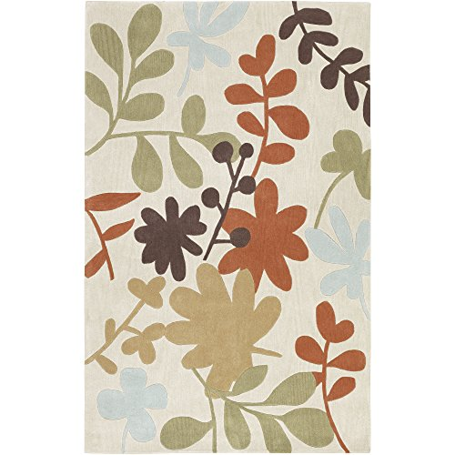 Surya Cosmopolitan COS-8926 Contemporary Hand Tufted 100% Polyester Bone 9' x 13' Floral Area Rug