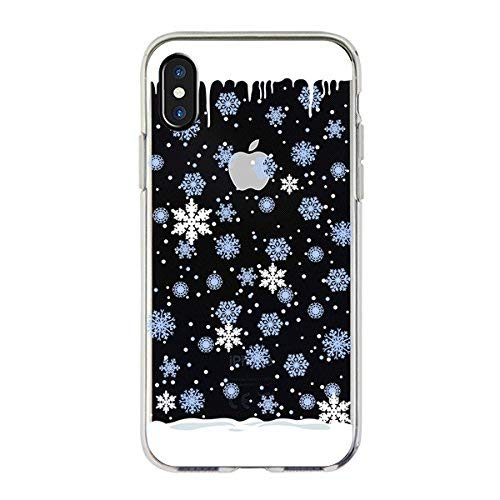- for iPhone XS Max Case Xmax, SevenPanda for iPhone Xs Max 6.5 inch Ultra Slim Silicone Rubber Clear Transparent Back Cover Art Merry Christmax Winter Snow Protective Case - White Blue Snowflake