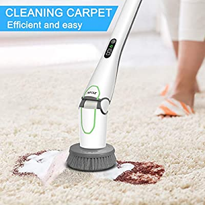 NPOLE Electric Spin Scrubber, LED Power Display Bathroom Cleaning Brush With5 Cleaning Scrubber Heads 1 Extension Arm and Storage Bracket Be Suitable Car?Tile,Carpet