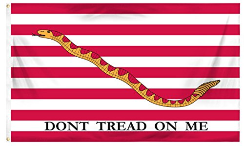 (3x5 Cotton U.S. First Navy Jack Don't Tread On Me Flag)