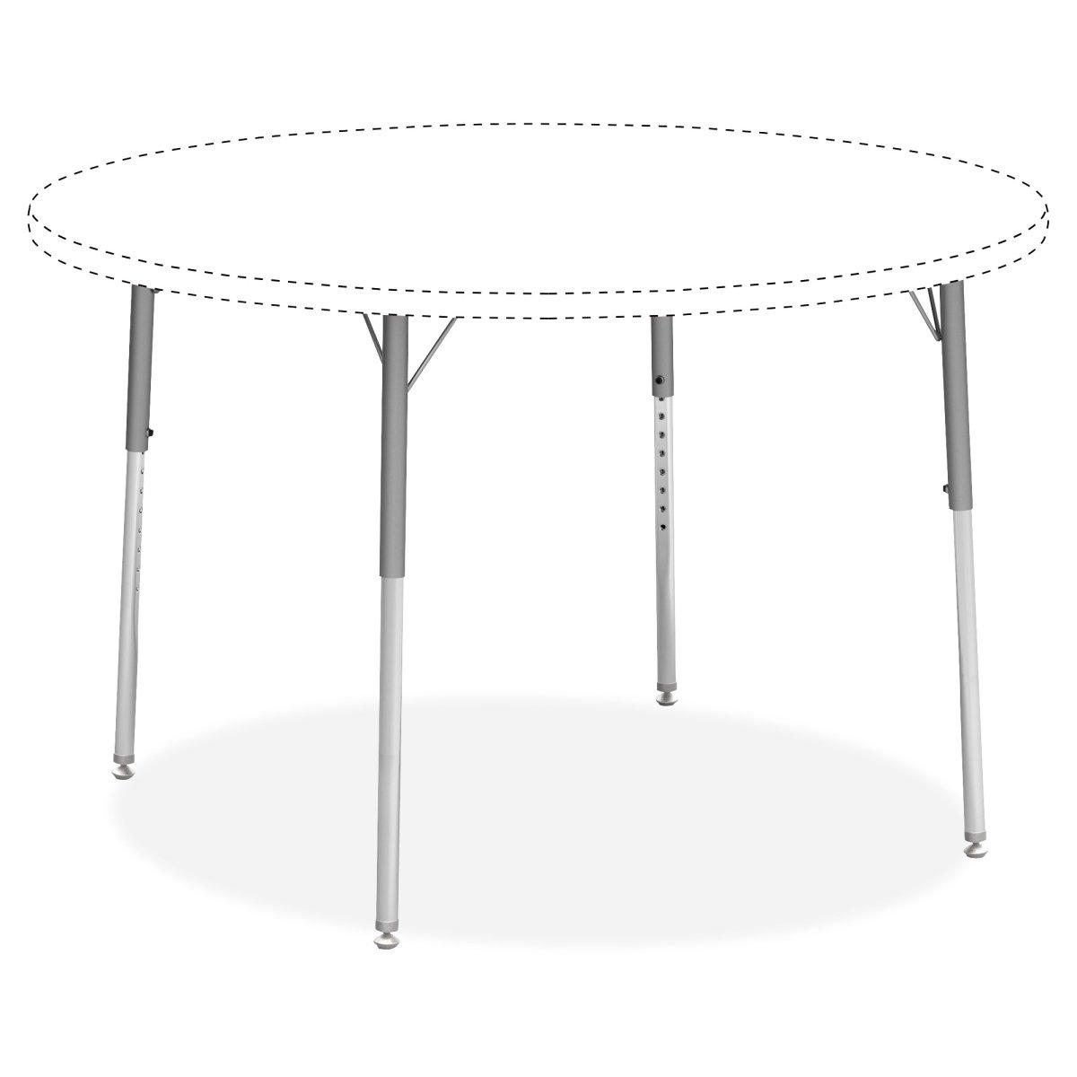Lorell Classroom Activity Table Standard Height Adjustable Leg Kit - Chrome, Silver Mist