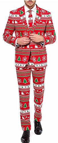Mens 'Winter Wonderland' Party Suit and Tie by OppoSuits, 40 (Mens Christmas Suits)