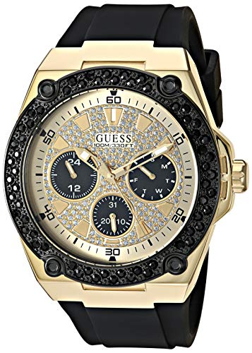 GUESS  Black Gold-Tone Glitz Stain Resistant Silicone Watch with Day, Date + 24 Hour Military/Int'l Time. Color: Black (Model: ()