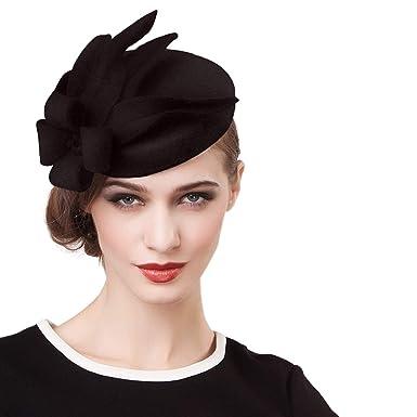 d6e35c8cc97b4 Womens Fascinator Wool British Berets Floral Felt Hats Wedding Fedora  Pillbox Hats Black at Amazon Women s Clothing store