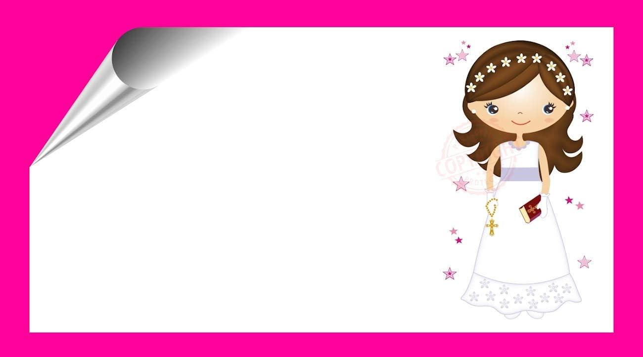 Kit 96 Etiquetas Mi Primera COMUNIÓN - Pegatinas Adhesivas Personalizables Niña Comunion para Regalo, Invitacion, Fiesta, Candy Bar, Obsequios, Botes Chuches, Dulces, Tarros