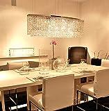 Cheap Siljoy Modern Crystal Chandelier Lighting Rectangular Oval Pendant Lights for Dining Room Kitchen Island L 37.4″ x W 7.9″ x H 16″