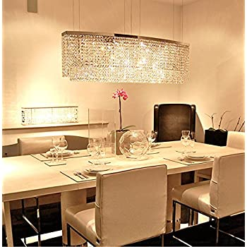 Siljoy Modern Crystal Chandelier Lighting Rectangular Oval Pendant - Pendulum lights for dining room