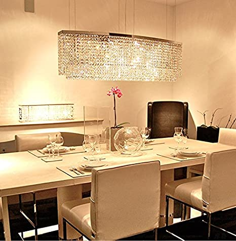 Siljoy Modern Crystal Chandelier Lighting Rectangular Oval Pendant Lights  For Dining Room Kitchen Island L 37.4u0026quot
