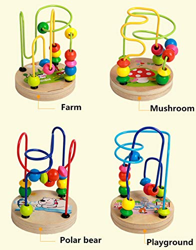 JUMEAL Bead Maze Roller Coaster Wooden Educational Circle Toy for Toddlers/Baby Around Circle Bead Skill Improvement Wood Toys Birthday Gift for Boys & Girls (Coaster Bead)