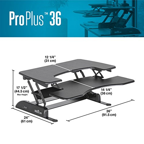 VARIDESK 49900 - Height-Adjustable Standing Desk - Pro Plus 36 - Black
