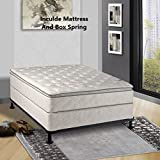 Mattress Solution 301y-4/6-2 10-Inch Medium Plush Pillowtop Innerspring Mattress Wood Box Spring, Full, Size