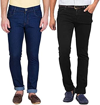 f572f2a3 Stylox Pack of 2 Cotton Jeans for Men-Dark Blue/Black: Amazon.in ...