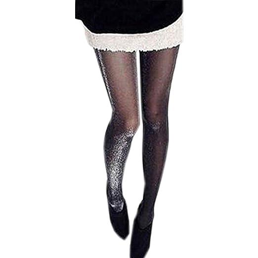 be7f4dfa1 Amazon.com  Okdeals Fabulous Shiny Black Stockings Glitter Pantyhose ...