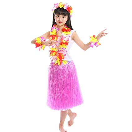 Haobing 5 in 1 Traje de fiesta Disfraces Hawaiana Falda Hula ...