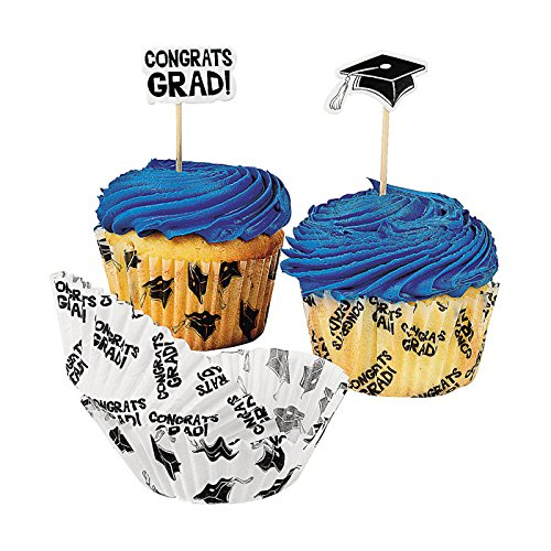 Graduation Baking Cups With Picks - Party Tableware & Serveware