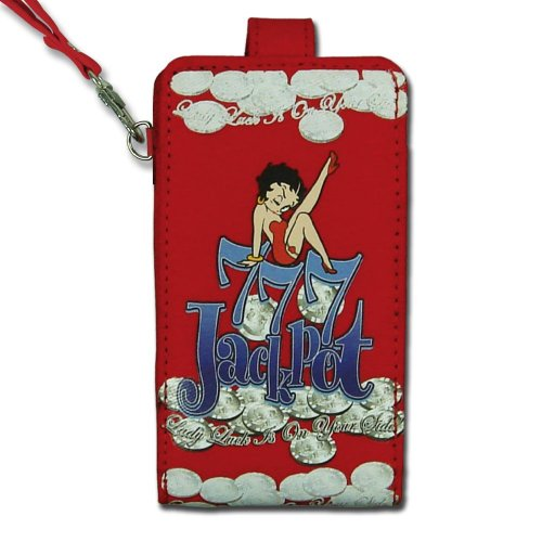 Licensed Betty Boop Leg (Licensed Red Betty Boop Universal Vertical Cellphone Pouch with Betty Boop Sitting on Top of a Pile of Coins and Jackpot Text)