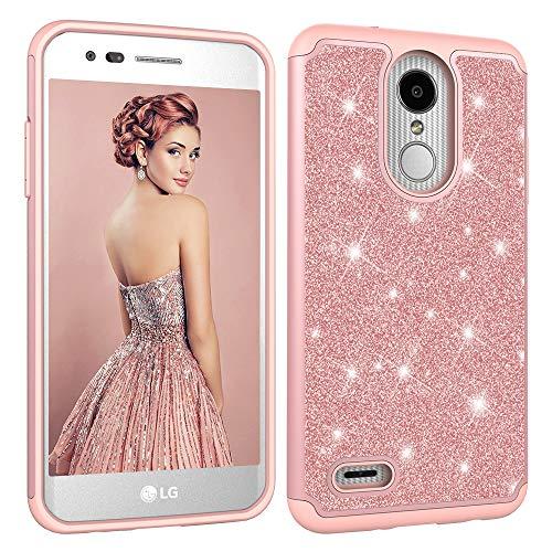 Glitter Phone Case for LG Aristo 3 2 Plus,Tribute Empire Dynasty,K8 2018 2017,K8 Plus K8+ 2018,LV3,Phoenix 3 4,Rebel 2 3 4 LTE,Fortune 2,Zone 4,Risio 2 3,K4 2017,LV1,Girls Shockproof Cover-Rose Gold