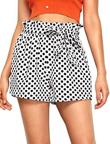 (Romwe Women's Polka Dots Print Elastic Waist Casual Summer Beach Shorts White XL)