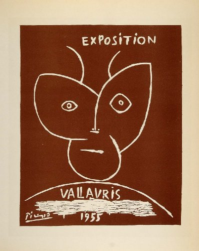 1959 Lithograph Pablo Picasso Poster Art Exposition Vallauris Abstract Mourlot - Original Lithograph - Pablo Picasso Lithograph