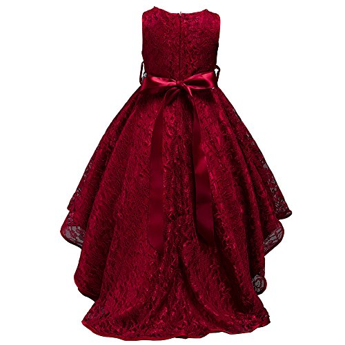 Pagent Dresses For Kids (dressfan kids Girls Wedding Party Lace Embroidery Pagent Trailing Dress with Diamond)