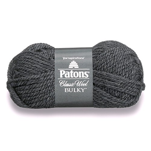 Patons  Classic Wool Bulky Yarn - (5) Bulky Gauge 100% Wool - 3.5oz -  Grey  -   For Crochet, Knitting & Crafting