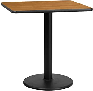 Flash Furniture 30'' Square Natural Laminate Table Top with 18'' Round Table Height Base