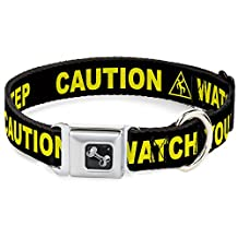 "Buckle-Down DC-W32915-WL Dog Collar Seatbelt Buckle, Caution Watch Your Dubstep Black/Yellow, 18""-32"""