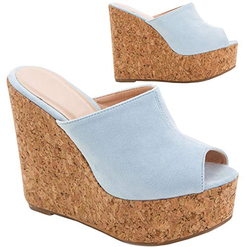 Syktkmx Womens Platform Wedge Slides Sandals Slip On Peep Toe High Heel Cork Summer Mules