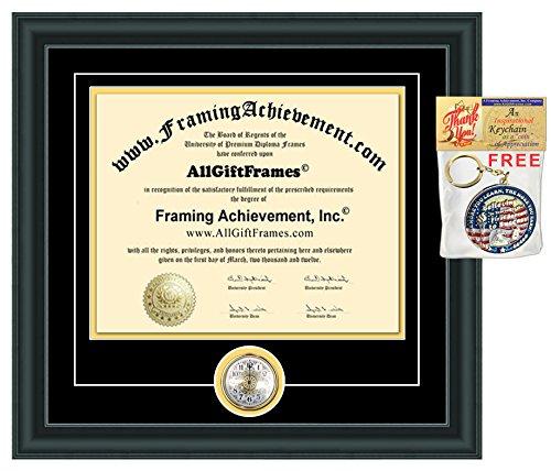 License Certificate Frames State Board Certification with Clock Document Holder Wall Plaque Framing Case Plaque Collegiate Graduation Gift Student Graduate Retire Service Award Matte Black