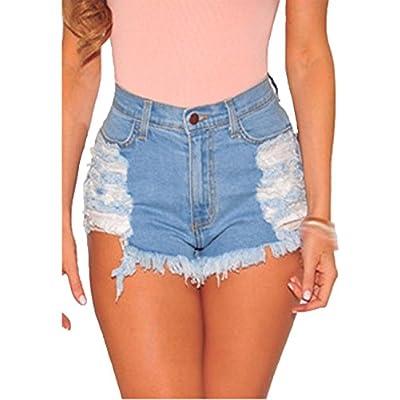 Discount KJY Women's High Waist Ripped Denim Shorts for cheap