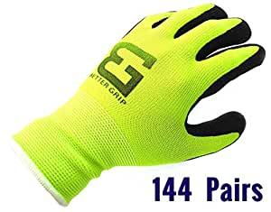 144 Pairs Ultra-Thin Knit Nylon Sandy Latex Coated Work Gloves (Lime Green, Large)