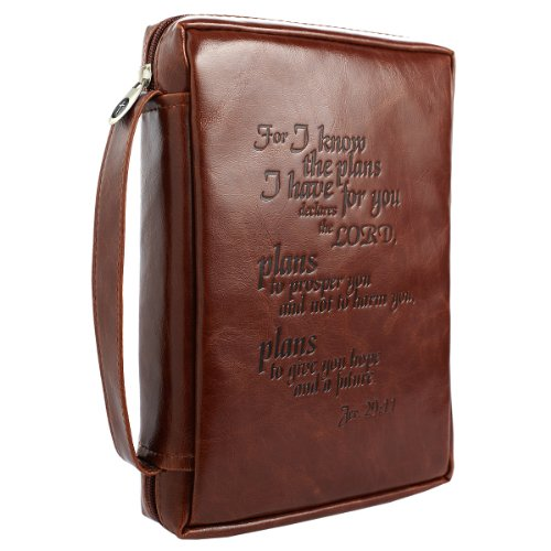 - Vintage Leather-Look Jeremiah 29:11 Verse Bible / Book Cover (Large)