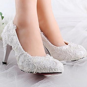 Jingxinstorewhite Pearl Silk Lace Wedding Shoes Bridal Flats Low