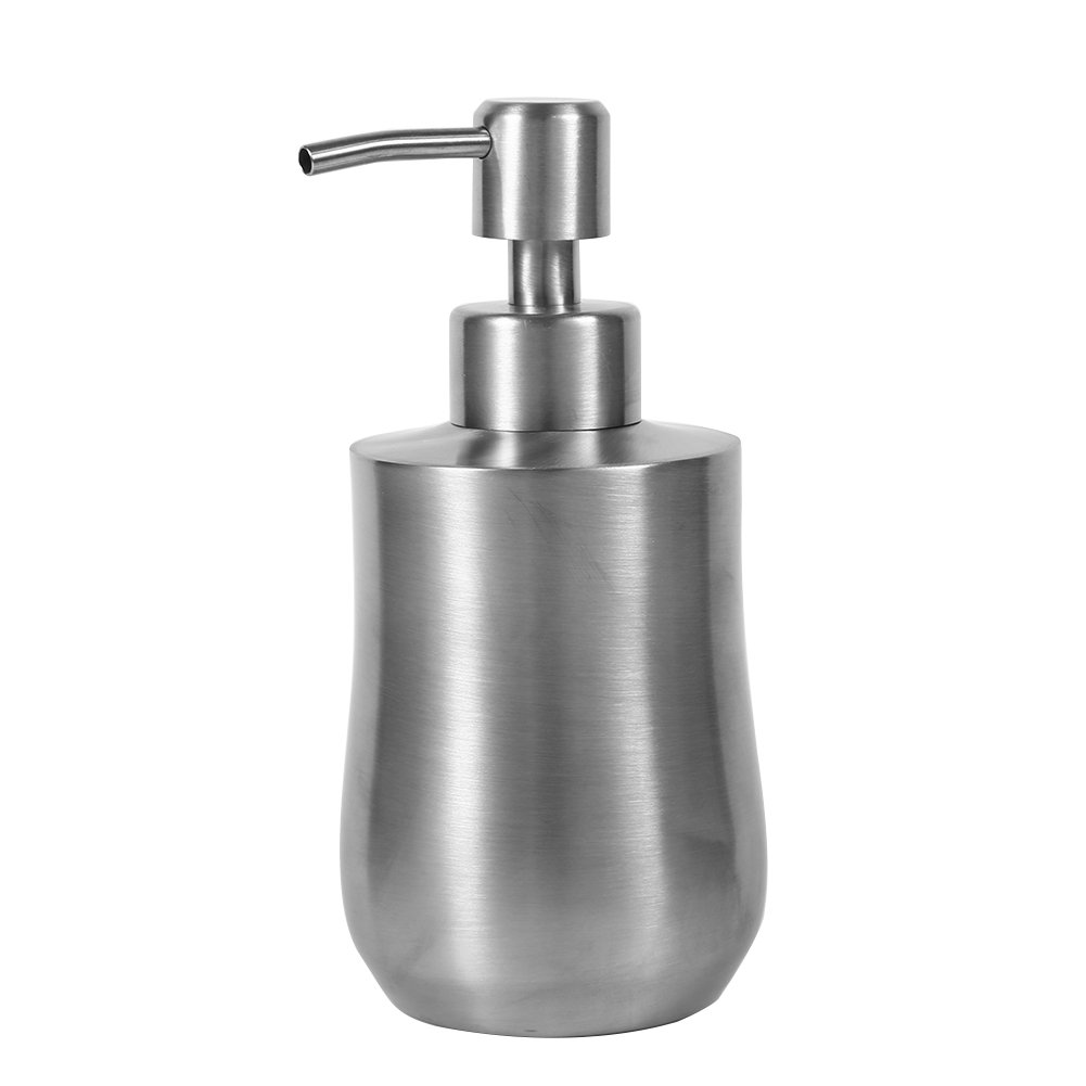 TOPINCN 304 Stainless Steel Soap Dispenser, Kitchen Bathroom Shampoo Soap Container 12oz