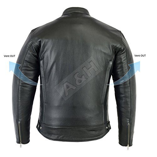 XXX-Large A/&H Apparel Mens Leather Motorcycle Jacket Genuine Cowhide Zip Out Lining Jacket