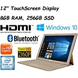 """2017 Newest Edition Samsung Galaxy TabPro S 12"""" Full HD+(2160x1440) Flagship High Performance TouchScreen Convertible 2-in-1 Laptop, Intel Core M3, 8GB RAM, 256GB SSD, Win10, Gold"""