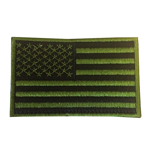 American Flag Green Jungle Velcro Patch / USA Tactical Morale Patches with Velcro for molle attachments and bulletproof vests (Green Foliage, 2