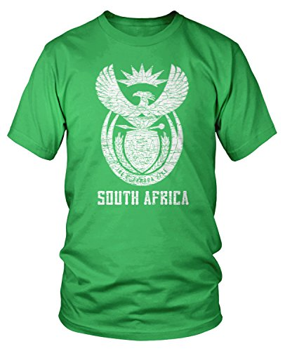 Amdesco Men's South Africa Coat of Arms, South African T-Shirt, Kelly Green -