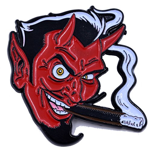 Smoking Devil by Coop Soft Enamel Black Nickel Plated Lapel Pin Yesterdays Co