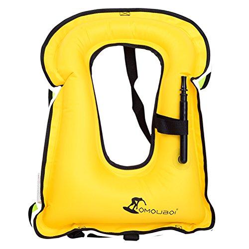 OMOUBOI Swim Vest, Safety Vest Easy Inflation Kids Life Vest for Water Activities (Yellow)