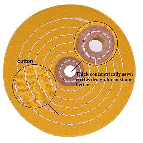 Polishing Wheel for Bench Grinder Buffing Wheel 6 inch White (60 Ply) & Yellow (42 Ply) for Buffer Polisher with 1/2 Inch Arbor Hole 2 PCS by StartFine (Image #3)