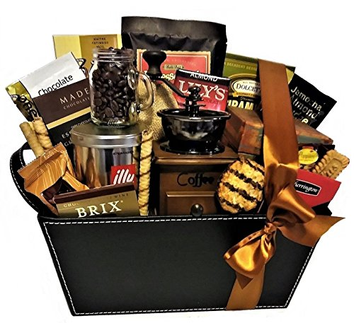 Premium Coffee and Chocolate Basket with Grinder by Goldspan Gift Baskets